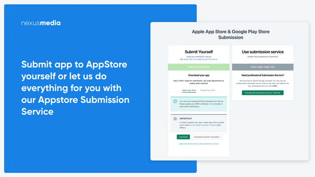 Submit app to AppStore yourself or let us do that for you