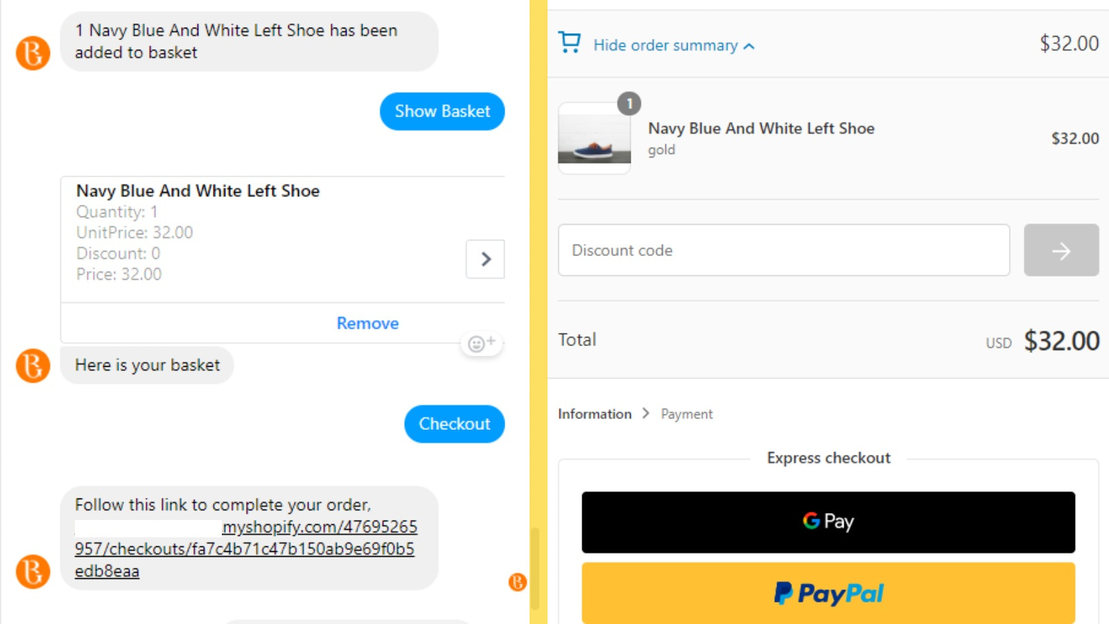 Complete checkout using your shops checkout system!