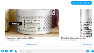 Search product using conversation. Can specify amount too!