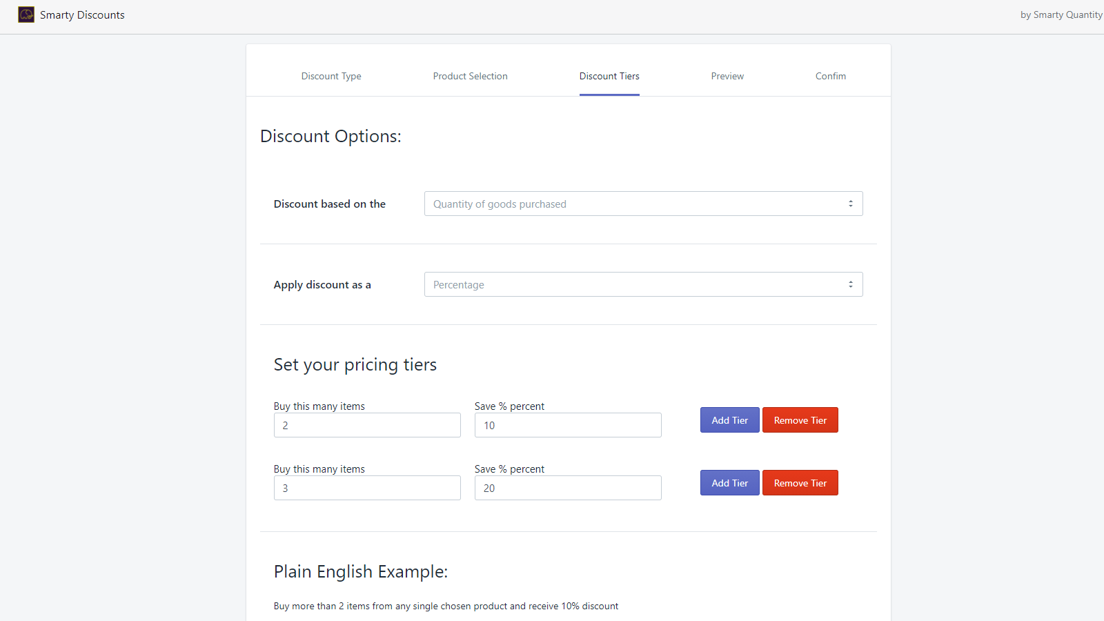 Full control over your pricing tiers. Plain english examples