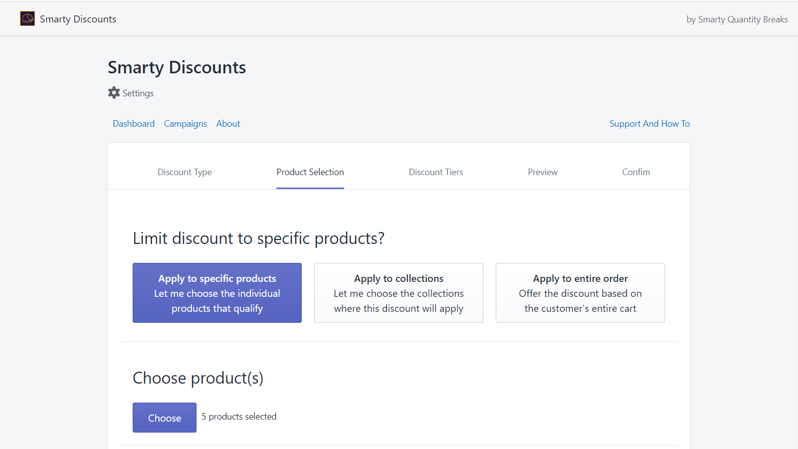 Flexible offers on specific products, entire collections or shop