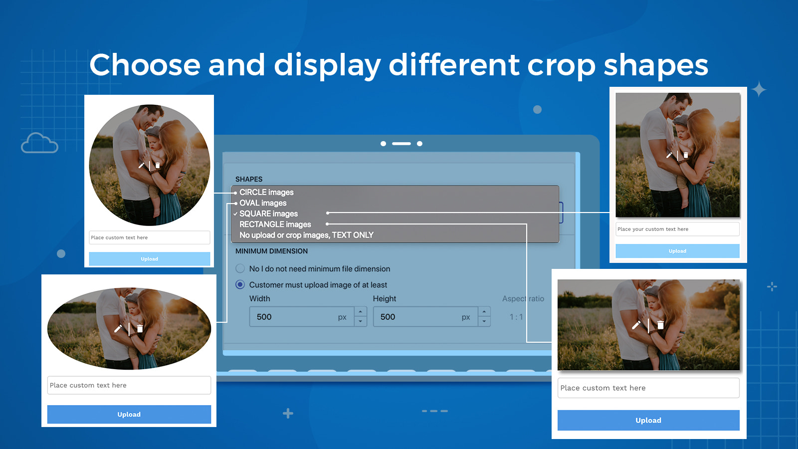 App setting, choose different image upload shapes to crop