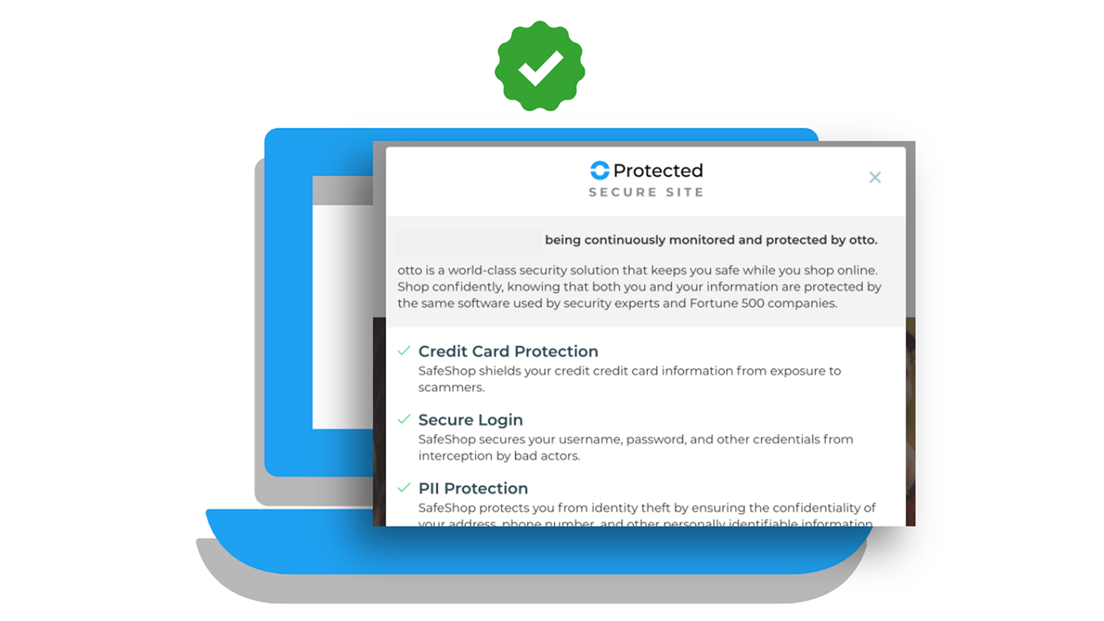 SafeShop Protected Promise shows you're Verified & Protected