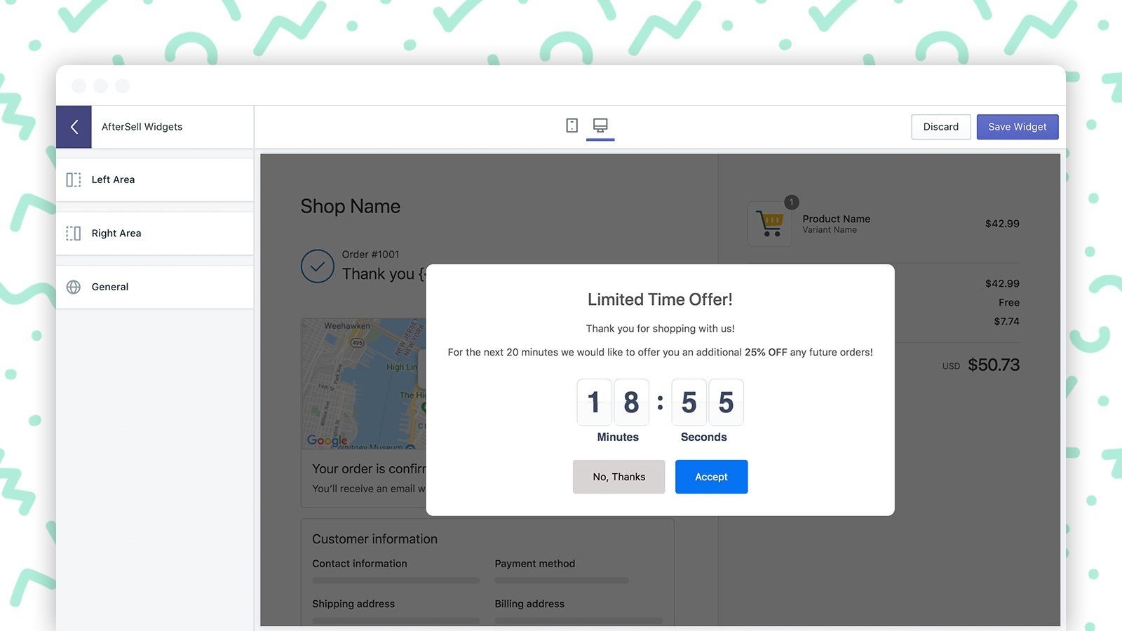 AfterSell Post Purchase Storewide Popup Discount