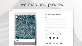 Live preview of maps and design customisations