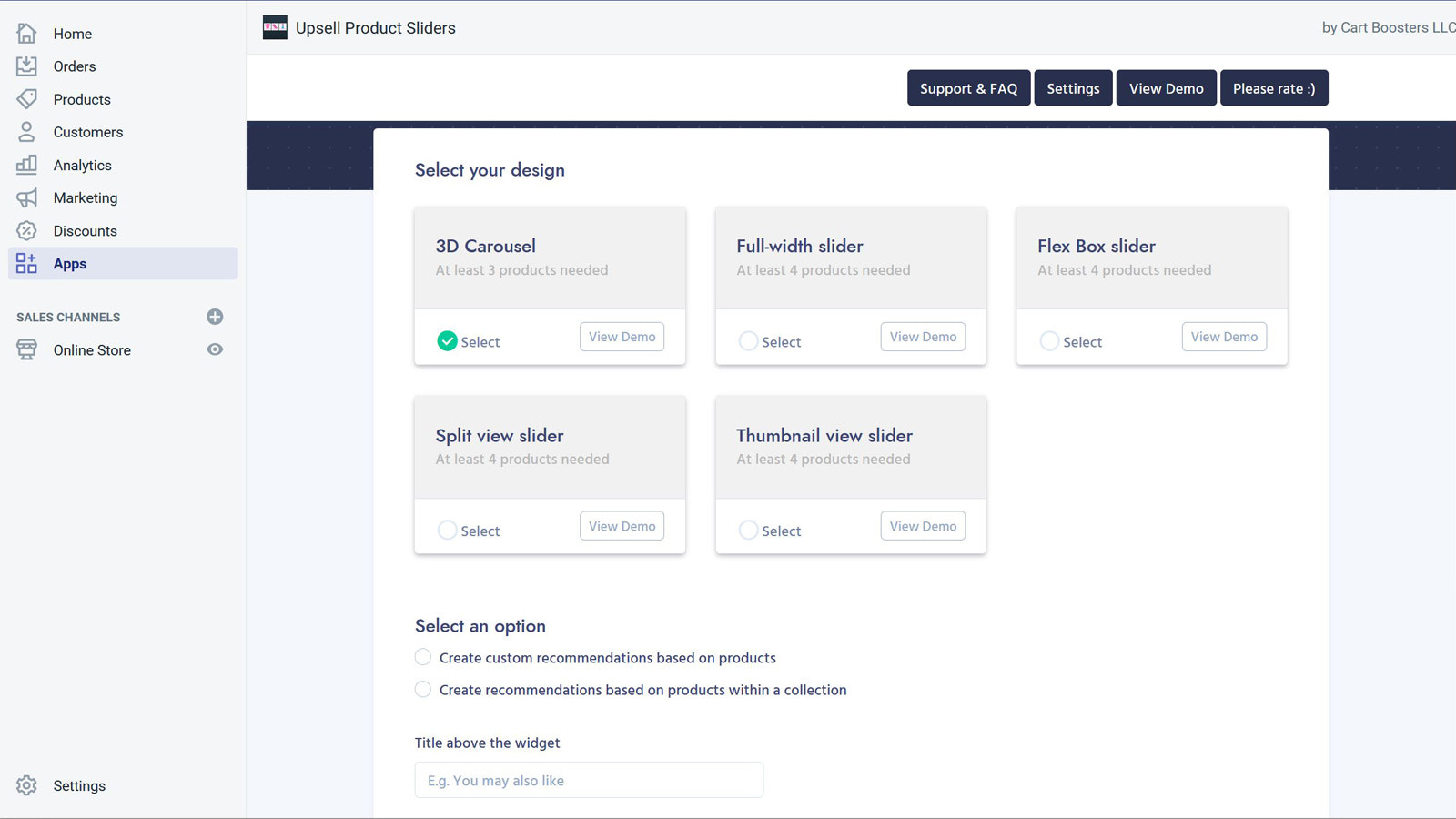 Upsell product sliders app's dashboard
