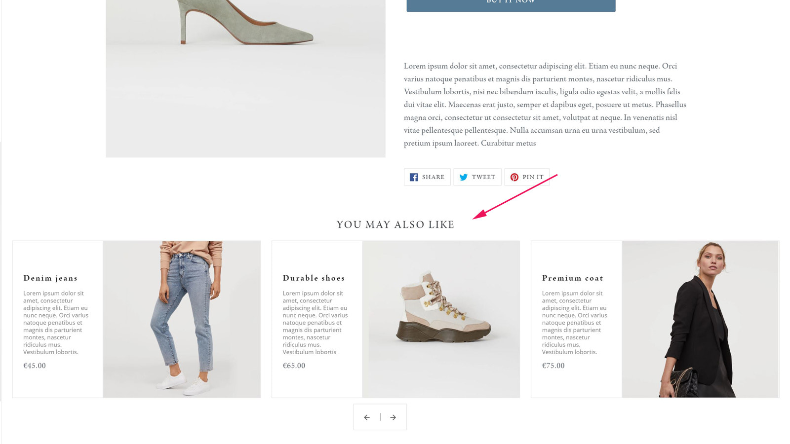 Recommendations with product details