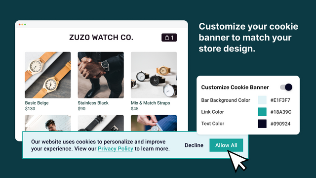 Customized cookie banner for GDPR and privacy law compliance