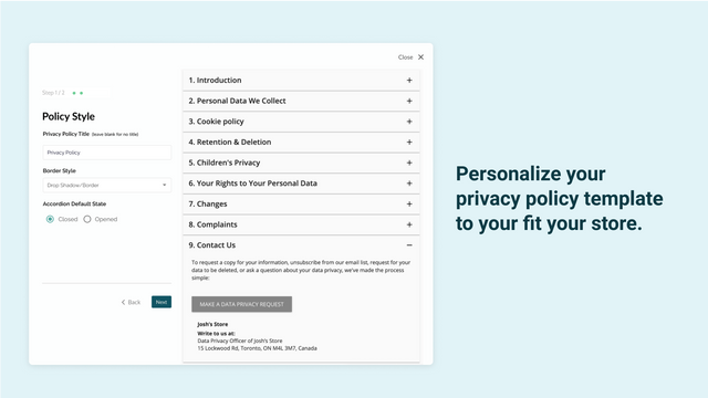 Personalized privacy policy page for your eCommerce store