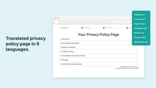 A translated privacy policy page. GDPR, CCPA compliance
