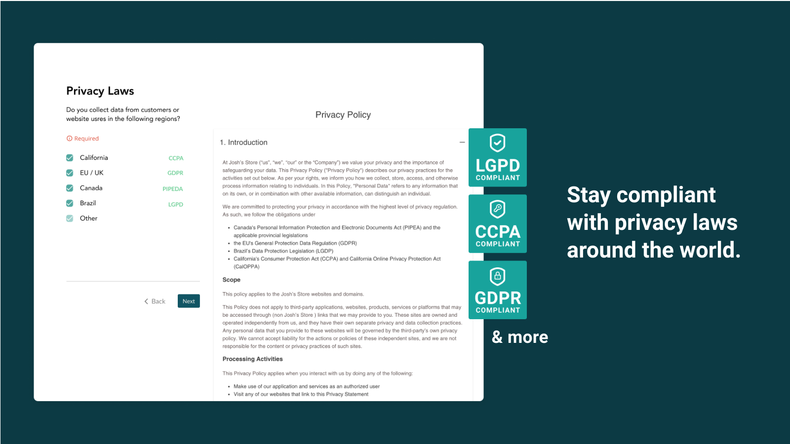Privacy Law GDPR, CCPA, PIPEDA Store Compliance and more