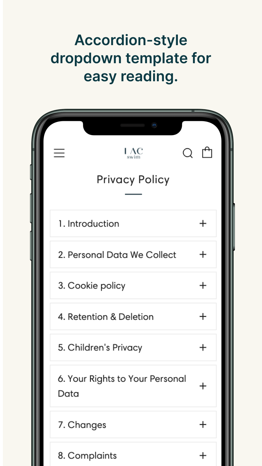 Readable privacy page, customer info, data collection and more