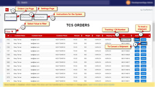 All pushed orders sent to TCS Customer COD Portal and tracking.
