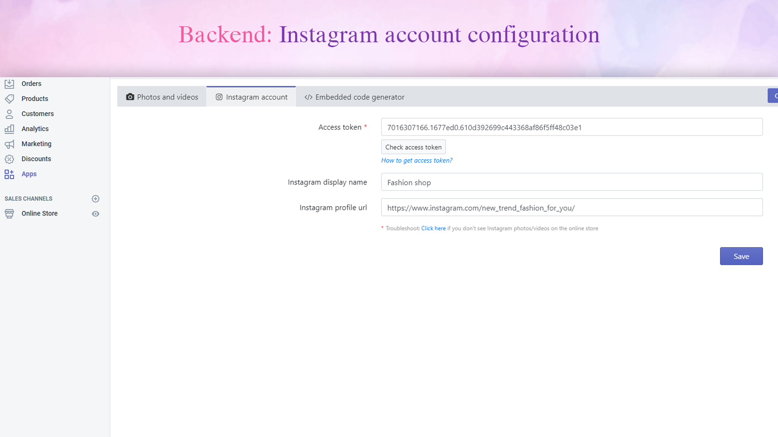 Backend: Instagram account configuration