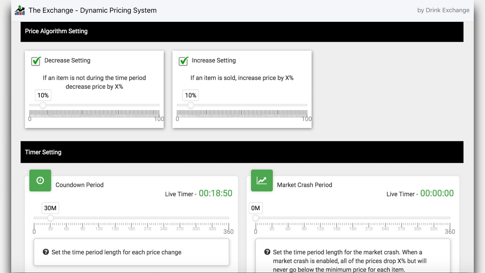 Adjust your pricing percentages and timer settings
