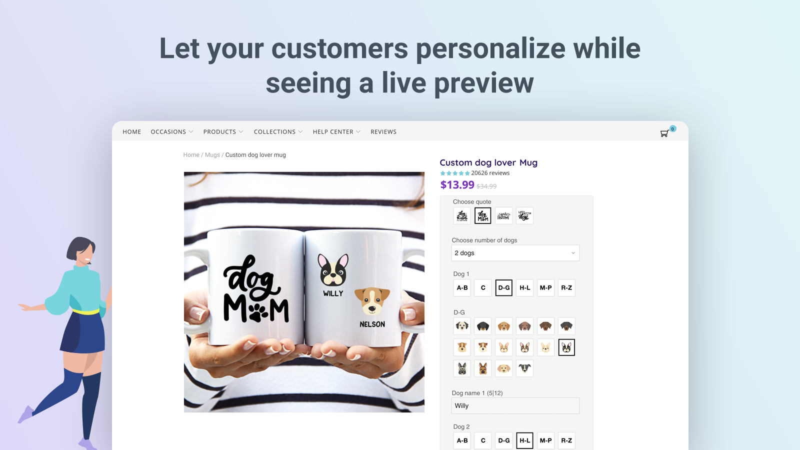 Customers personalize with live preview