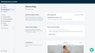 Self-Service Customizable Branded Returns Page