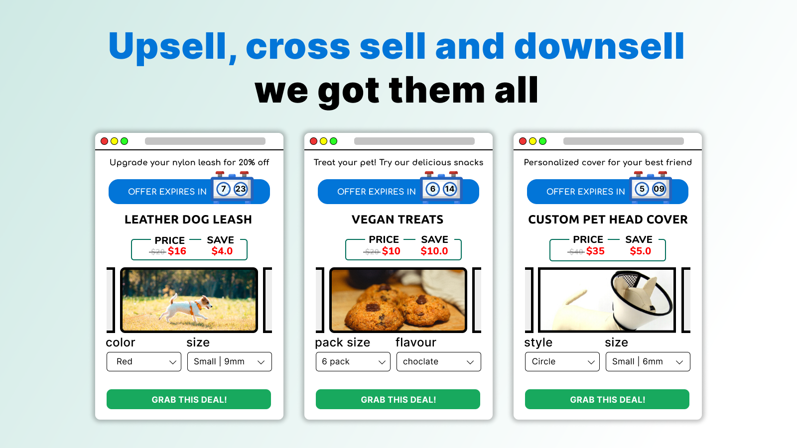 Upsell, Cross Sell, Downsell We got them all!