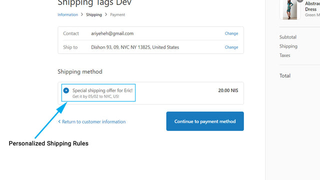 The shipping rates will appear on checkout depending on the tag