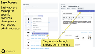Access app for specific products directly from Shopify Admin