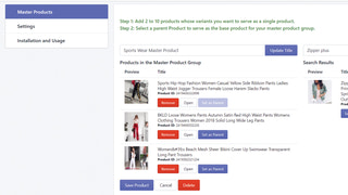 Add products to your master product