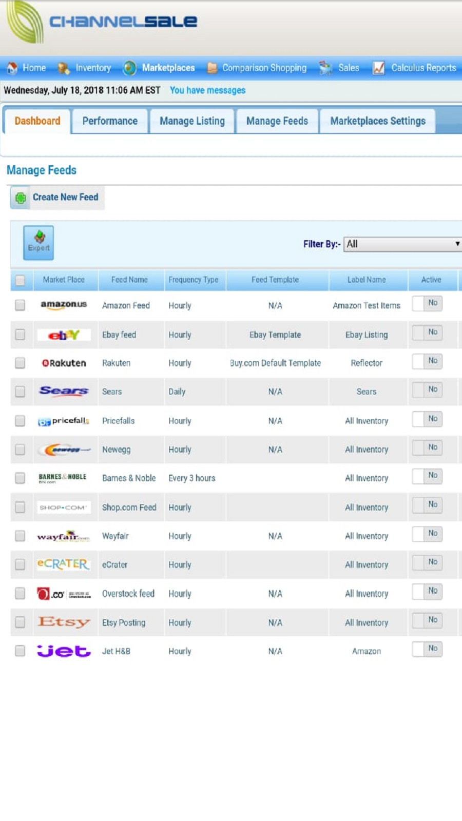 ChannelSale Manage Feeds