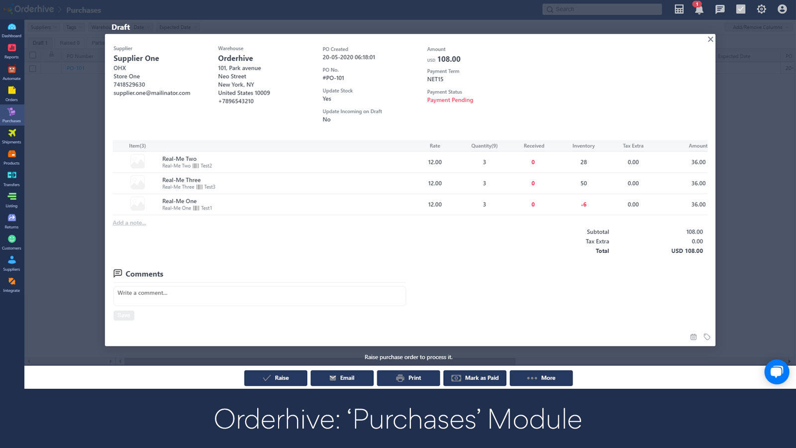 Purchase List Page