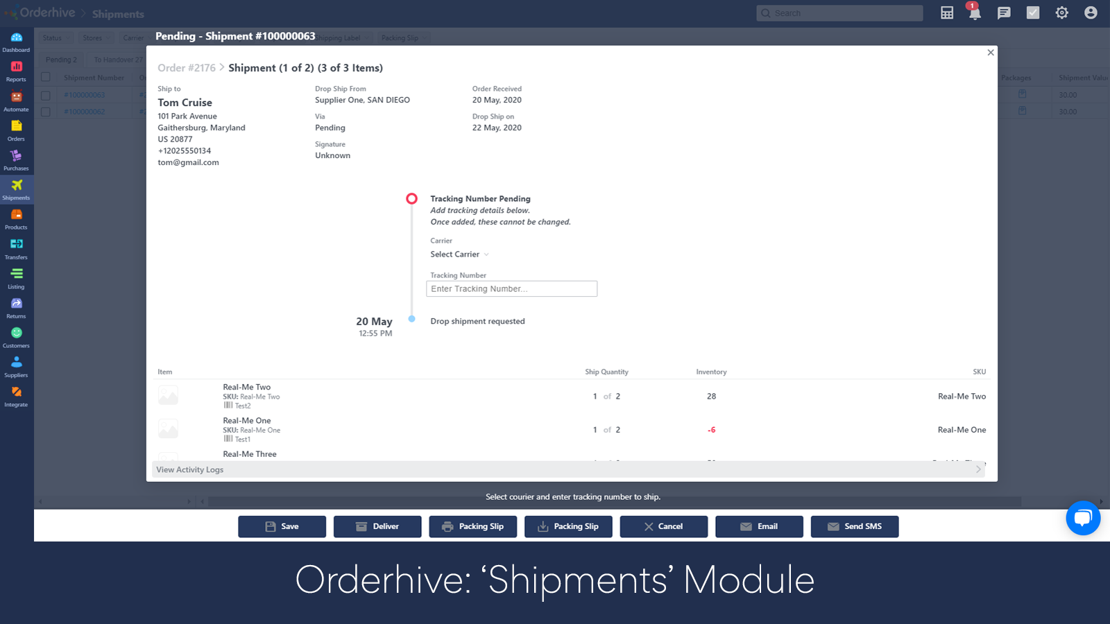 Shipment Tracking Page