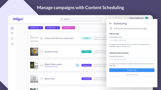 Content scheduling for automating marketing campaigns.