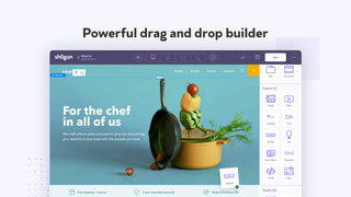 Drag and drop page builder for landing, blog, and product pages.