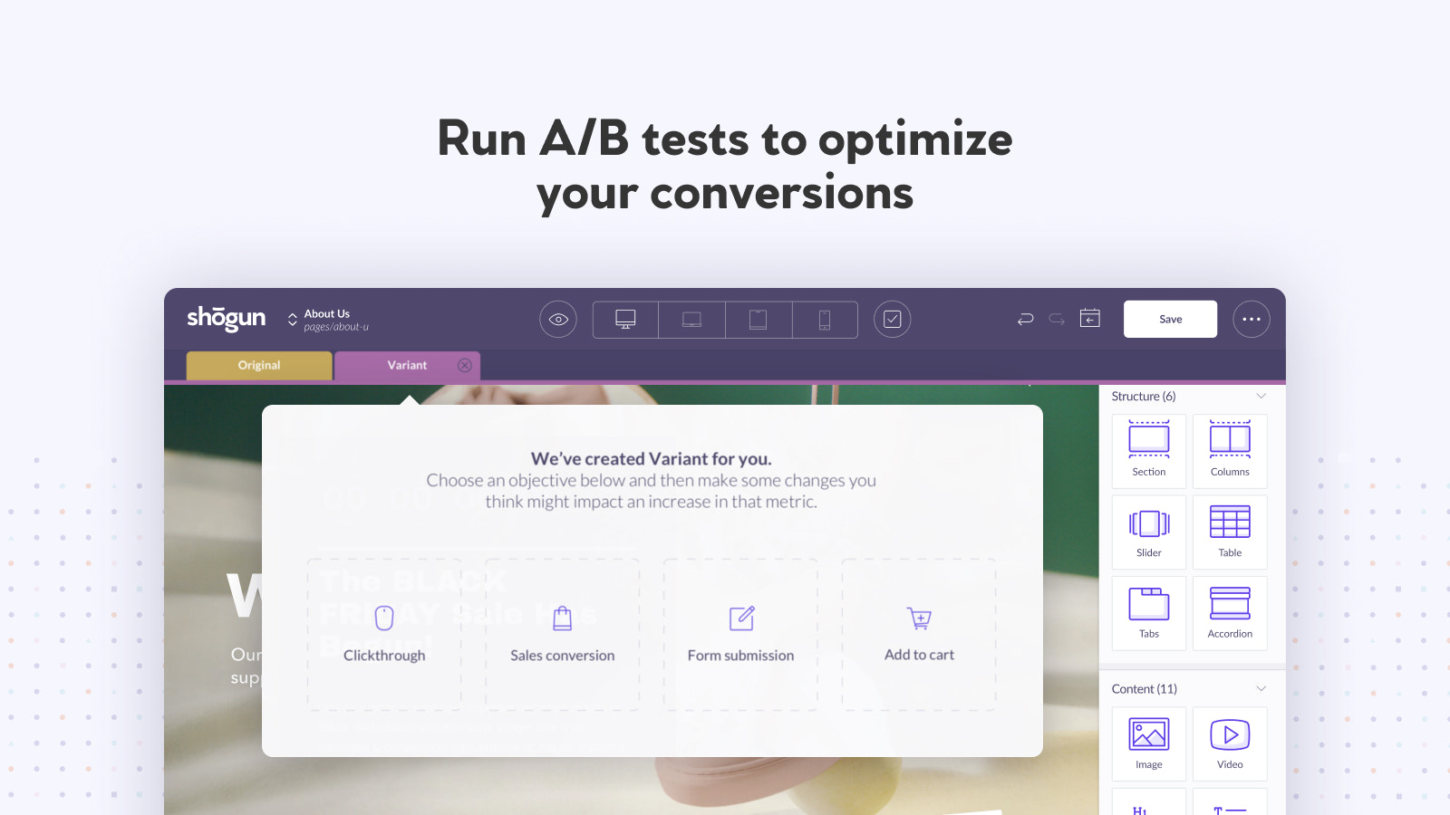 Run AB tests + countdowns to optimize your page conversion rate.