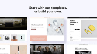 Library of landing page, blog page, and product page templates.