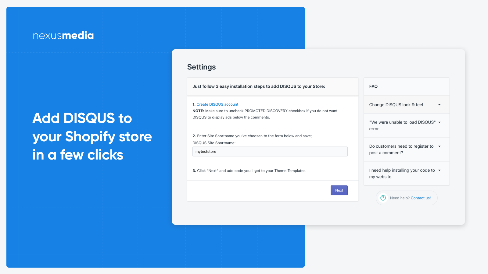 Add DISQUS to your Store in a few clicks