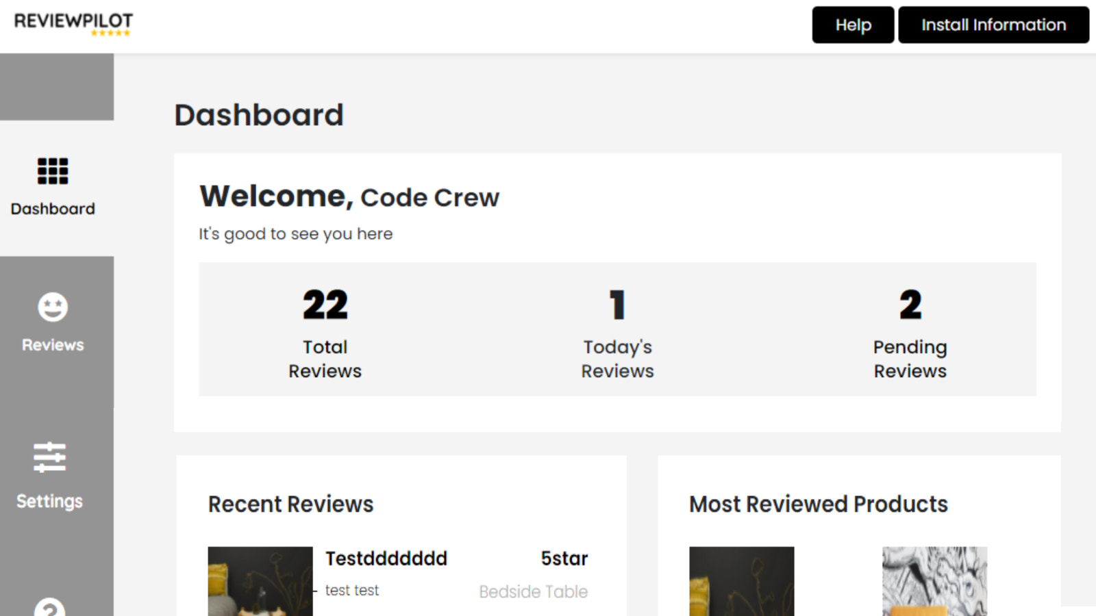 Welcome to Review Pilot Dashboard