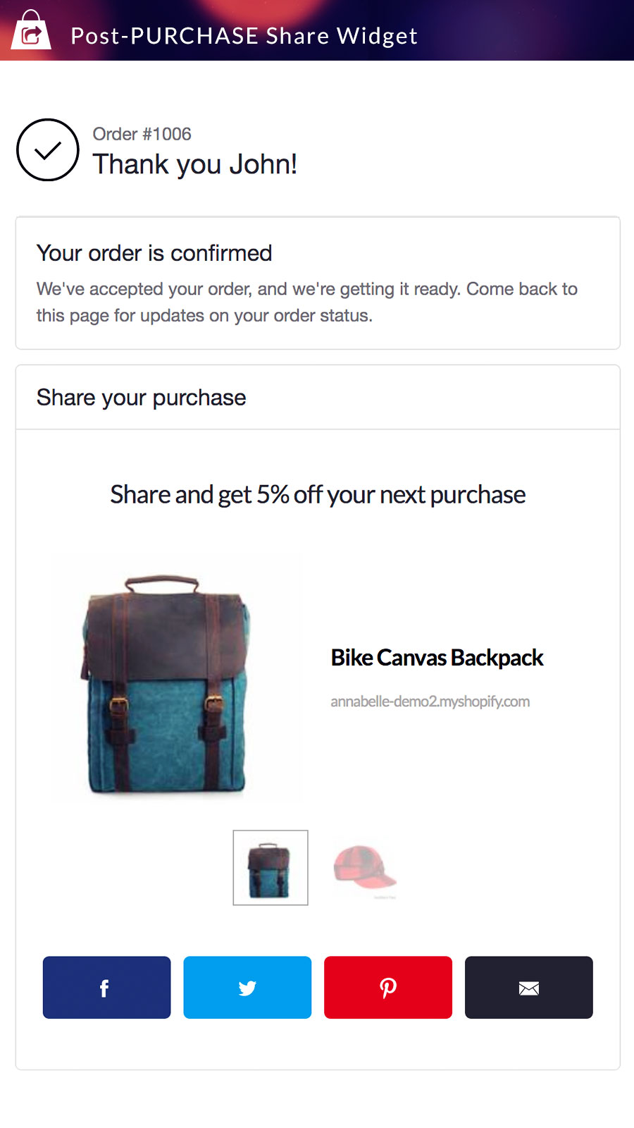 Post-purchase share incentive widget