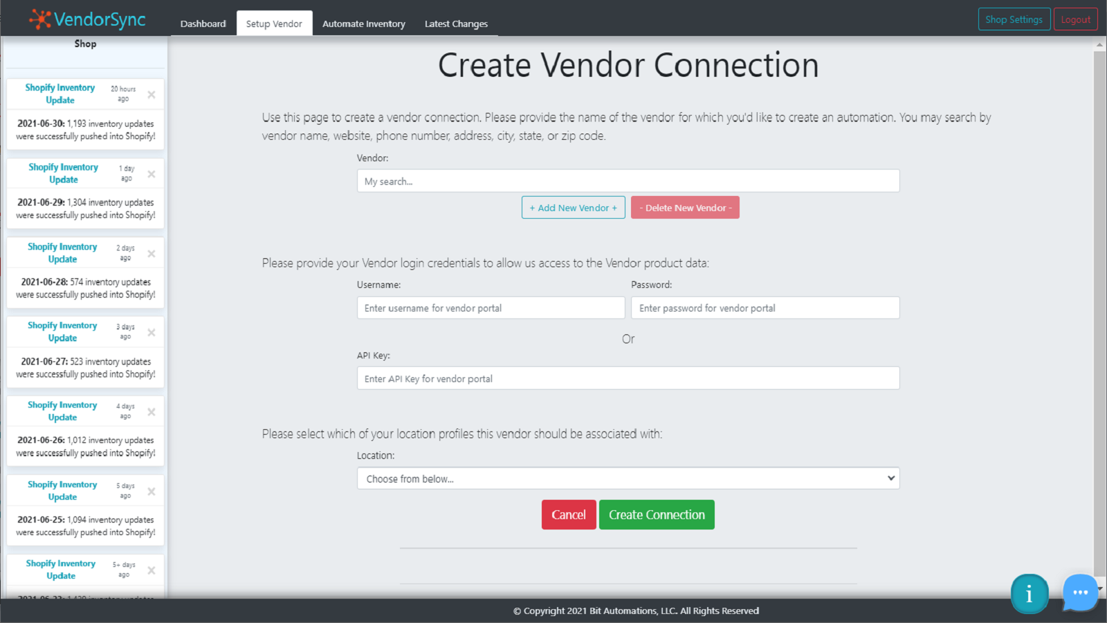 Create automatic connections to all of your vendor data!