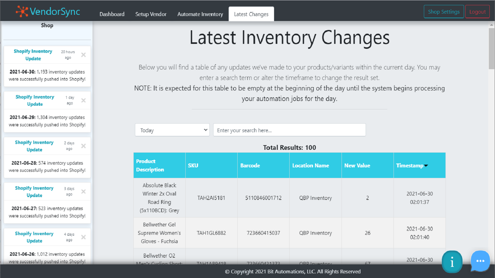 Explore a table of all updates performed on your store every day