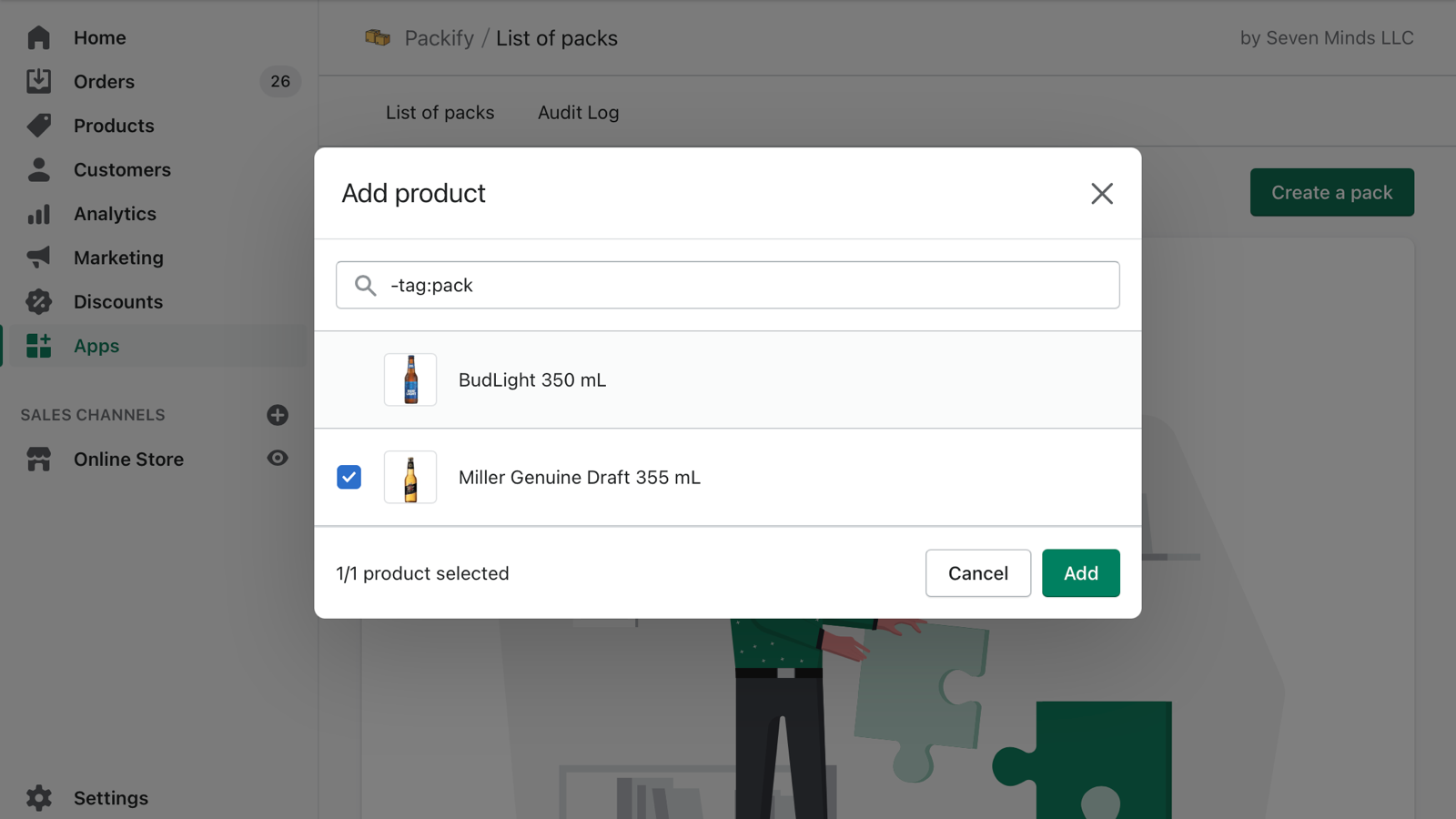 Select a product to create packs for