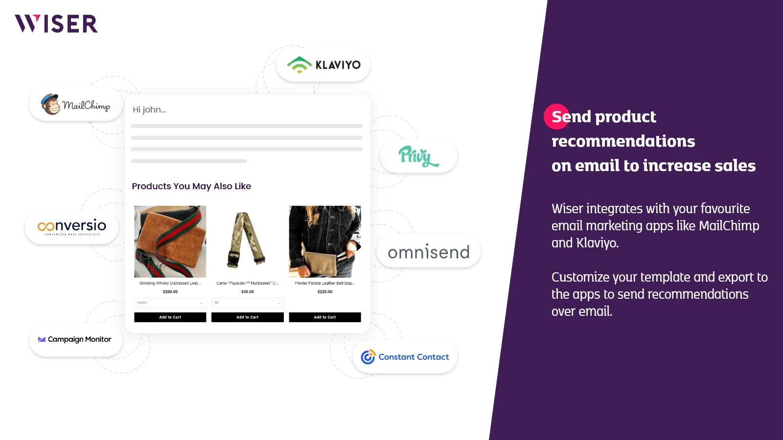 Email Recommendations Shopify by Wiser app