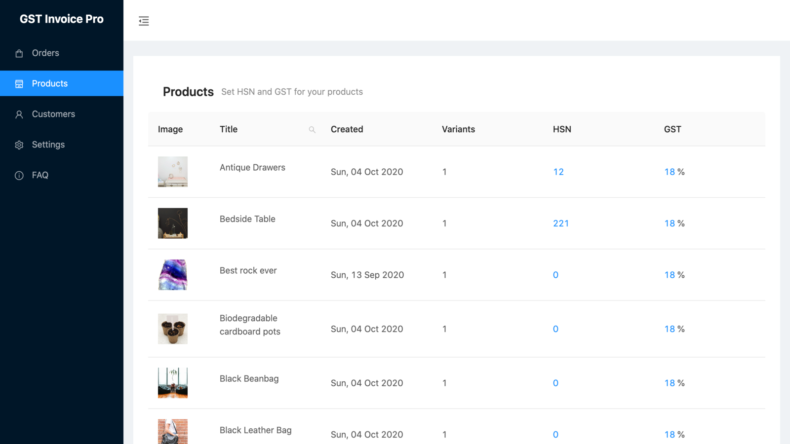 List Products, Bulk Edit HSN Code and GST Percentage