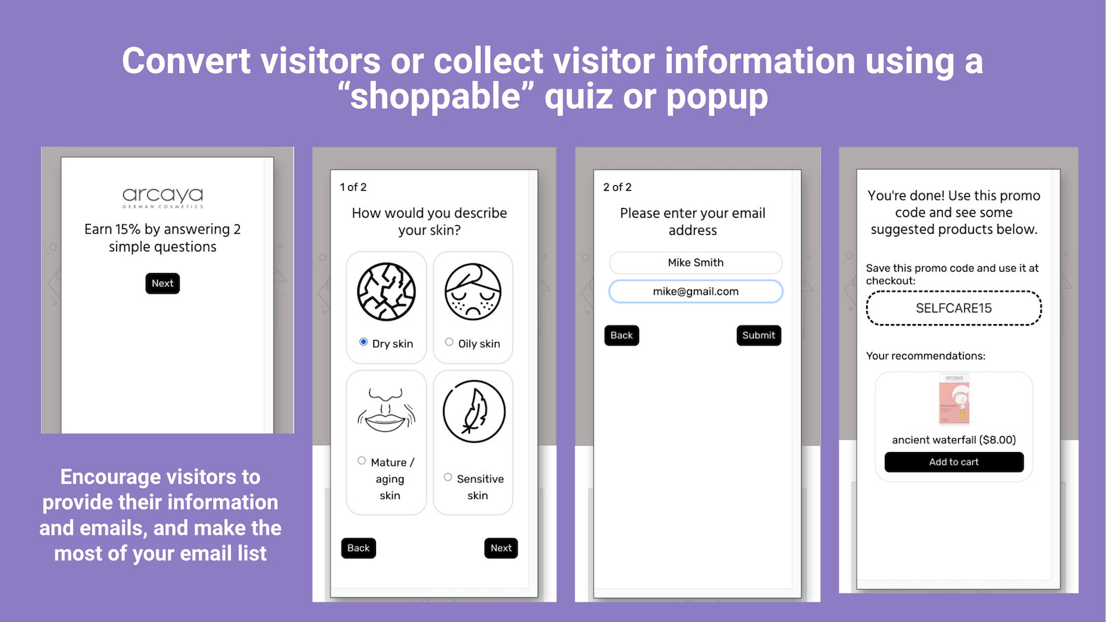 Benefits of a shoppable quiz or popup