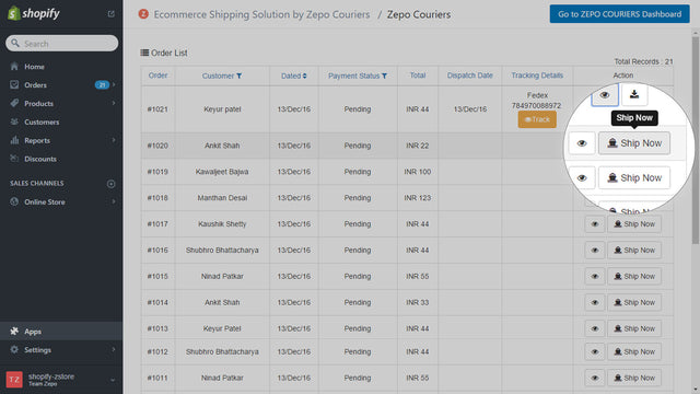 Ecommerce shipping orders panel