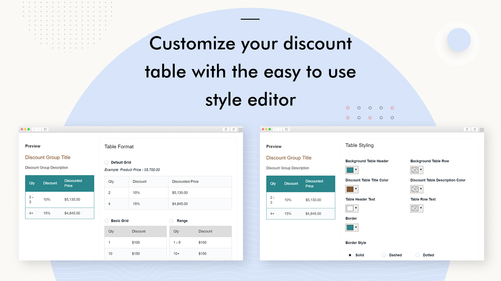 Bulk Discounts Now for Shopify Easy Discount Table Style Editor
