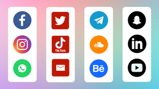 Some of the social media icons that the app supports