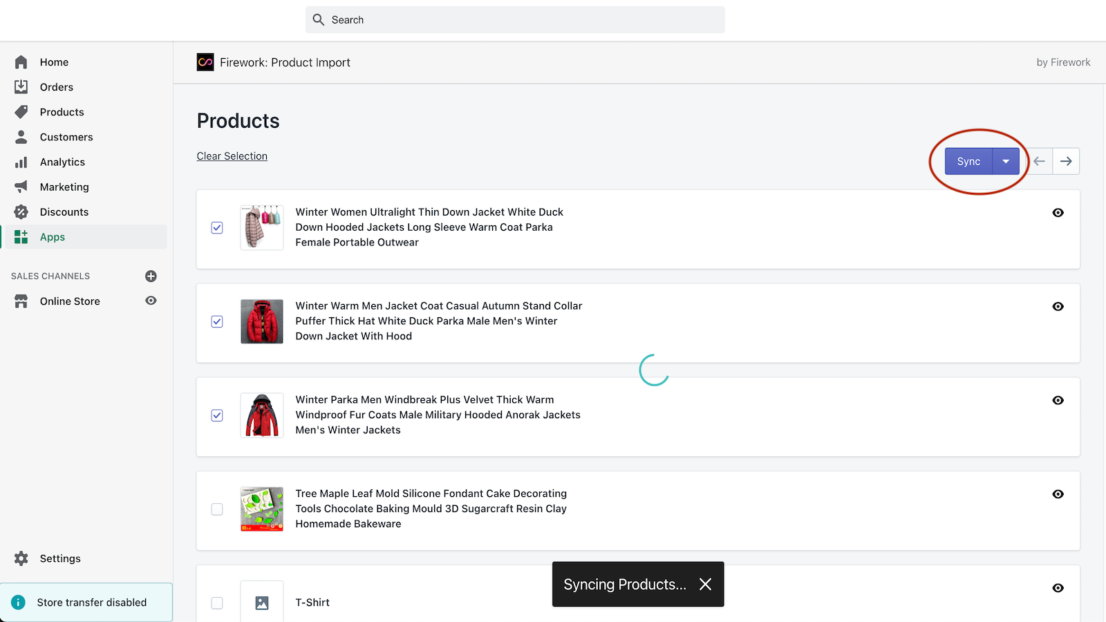 Click the Sync button to import selected products.