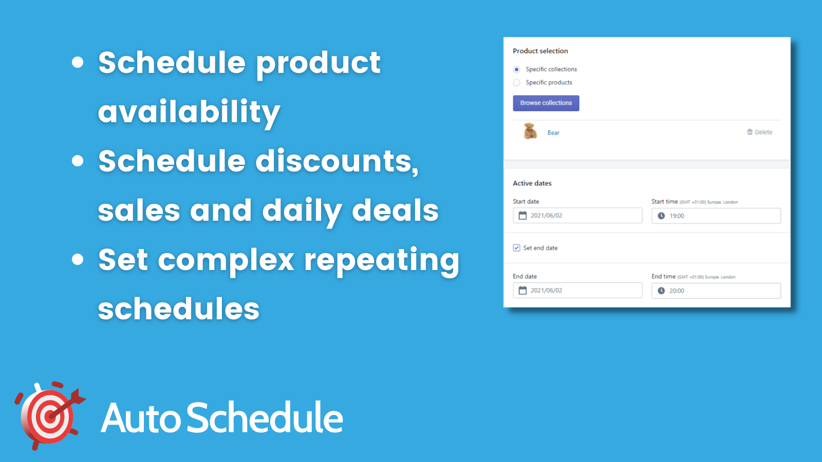 Schedule product availability, discounts and set to repeat