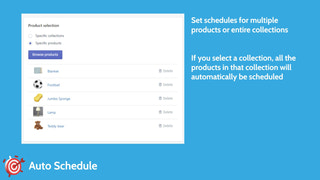 Set schedules for multiple products or entire collections
