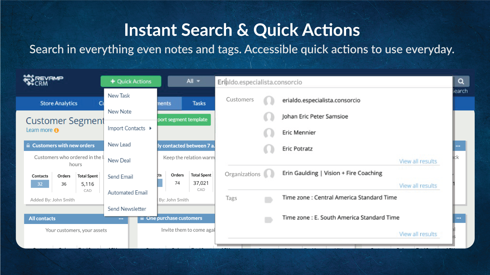 Instant Search & Quick Actions