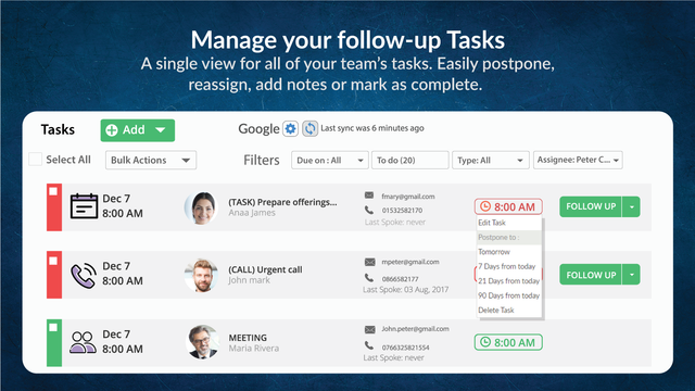 Manage your follow-up Tasks
