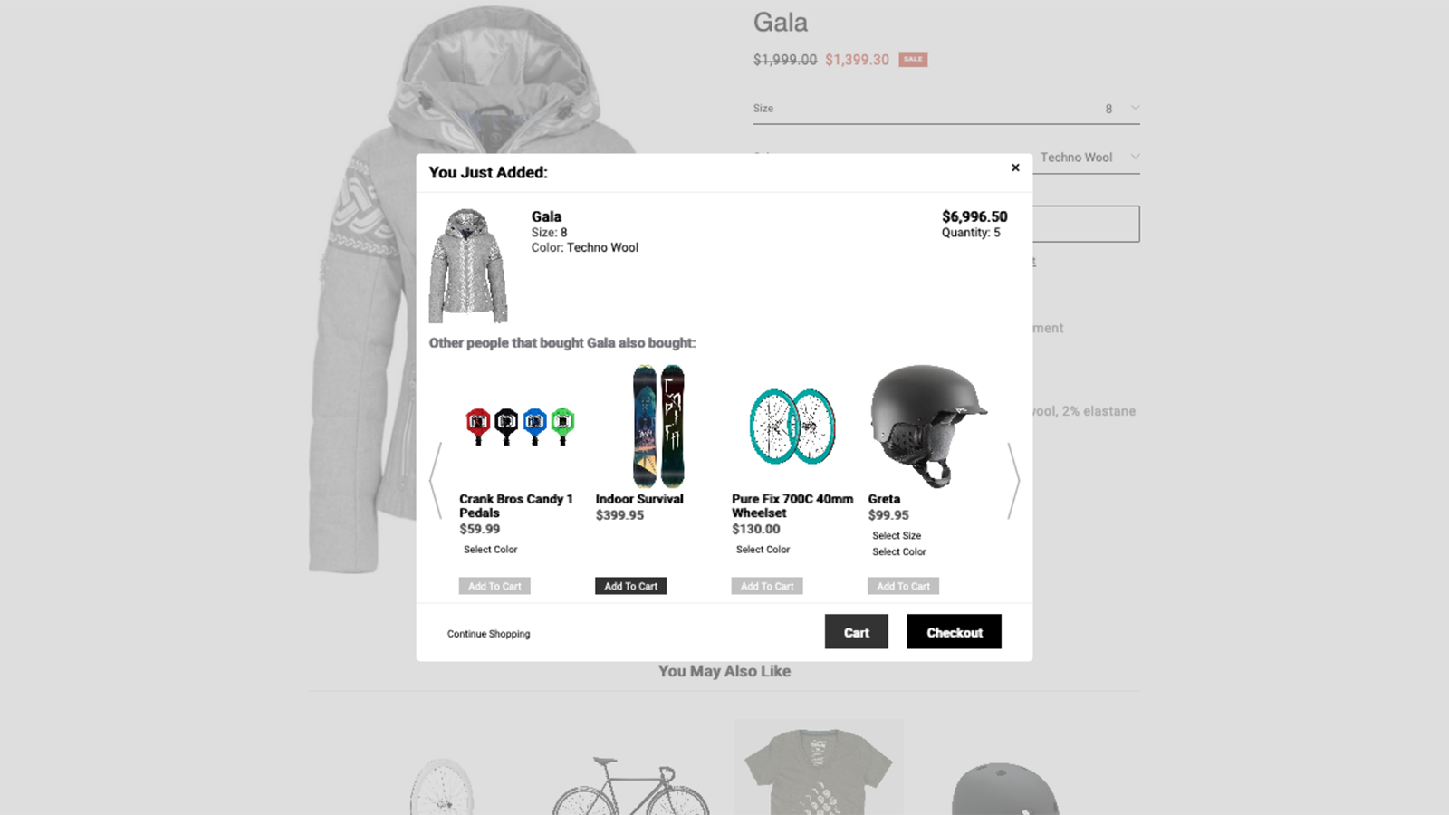 Product Recommendations Popup w/ Color and Size Selection